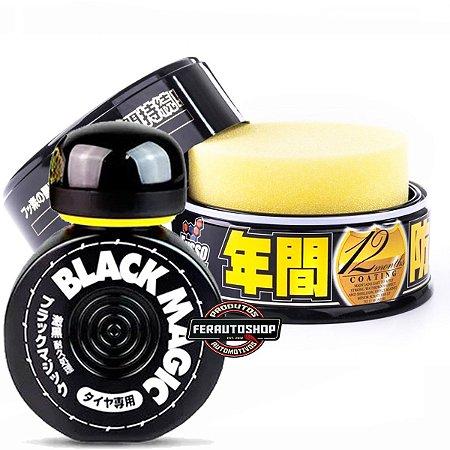 Kit Cera Fusso Coat Black Wax 200g + Pretinho para Pneus Black Magic 150ml - Soft99