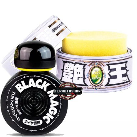 Kit Cera The King Of Gloss White Cleaner 320g + Pretinho para Pneus Black Magic 60 dias 150ml - Soft99