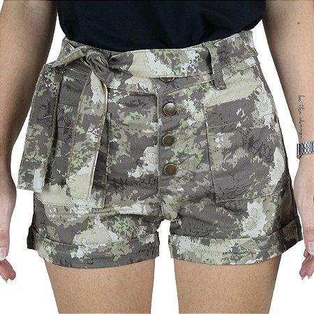 Shorts Feminino Sarja Rock Forest Treme Terra