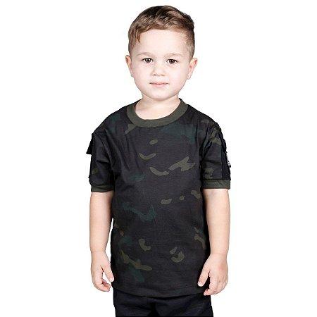 Camiseta T Shirt Ranger Infantil Multicam Black Bélica