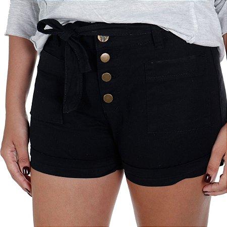 Shorts Feminino Sarja Preto Treme Terra