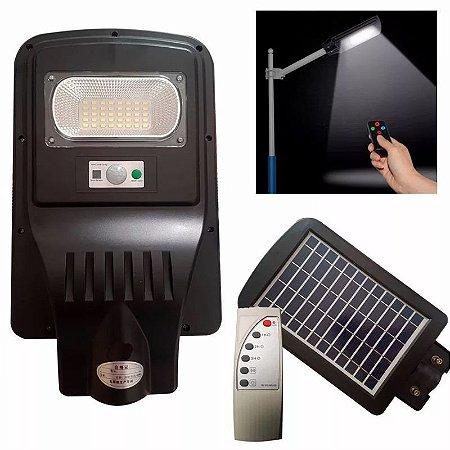 Poste Energia Solar Luminária 20w Controle Remoto Sensor