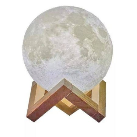 Luminária Lua Cheia 3d Abajur Usb Touch 15cm 3 Cores Suporte