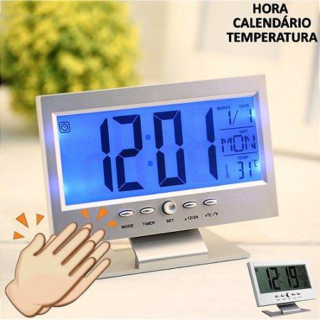 Relógio de mesa digital LCD led acionamento sonoro despertador termometro PRATA