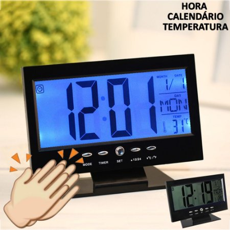 Relógio de mesa digital LCD led acionamento sonoro despertador termometro PRETO