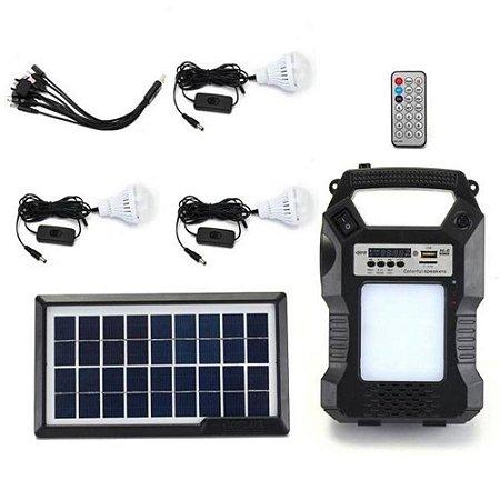 Kit Solar Com Radio Fm Usb Cartão 3 Lâmpadas + Luz Completo