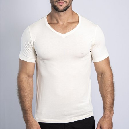 Camiseta Slim Fit Gola V Light OFF WHITE - SOHO