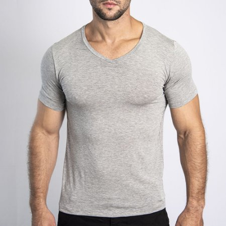 Camiseta Slim Fit Gola V Light Mescla Claro - SOHO