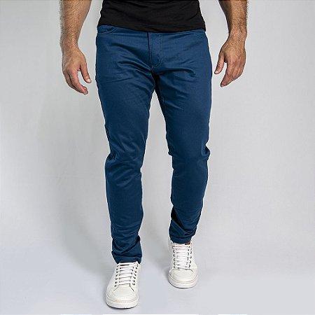 Calça Sarja Acetinada Skinny Fit Azul - SOHO