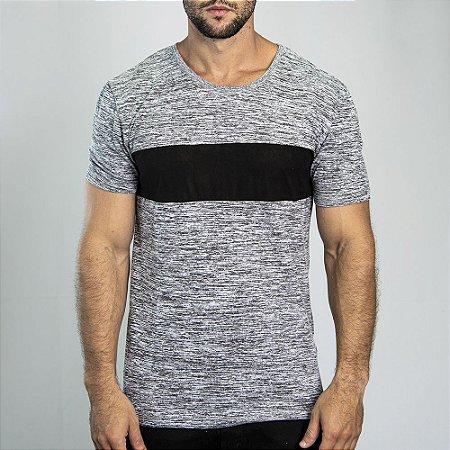 Camiseta Manga Curta Grecia Maquinetado Cinza - SOHO