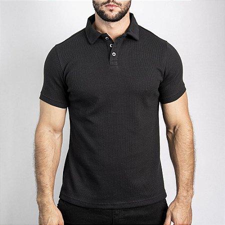 Camiseta Polo Malha Wafle Boston Preta - SOHO
