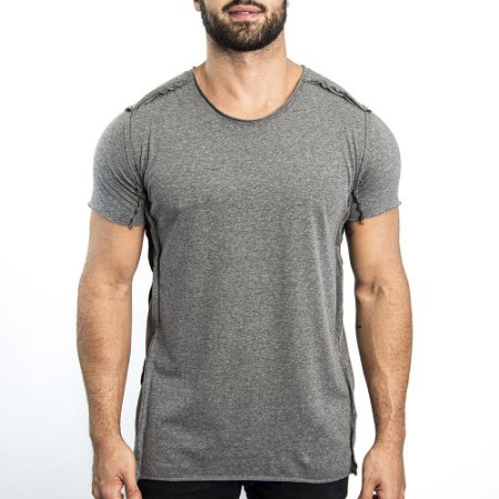 Camiseta 1/2 Malha Geometric - Cinza Mescla