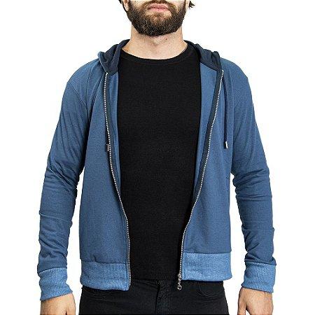 Moletinho Ganguru Zíper Maquinetado SOHO - Azul