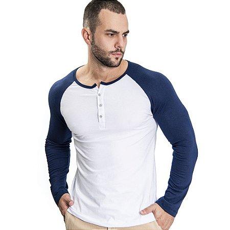 Camiseta Henley ML Branco/Azul - SOHO
