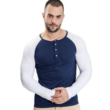 Camiseta Henley ML Azul/Branco - SOHO