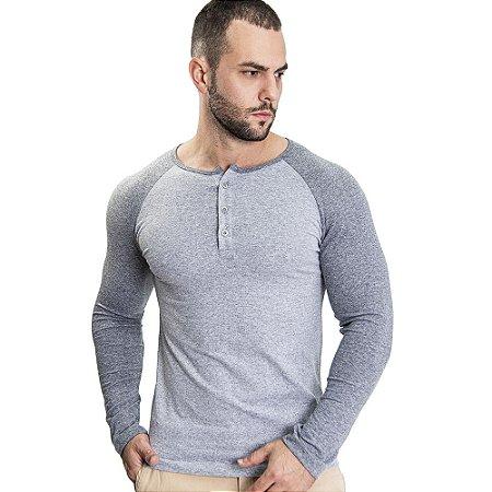 Camiseta Henley ML Cinza - SOHO