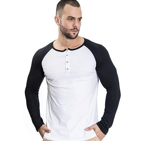 Camiseta Henley ML Branca & Preta - SOHO