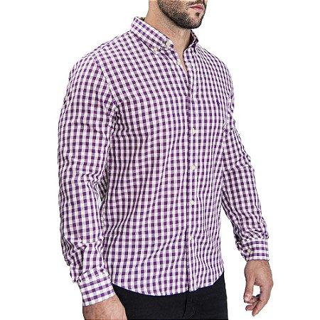 Camisa Custom Fit Purple Quadric - Ralph Lauren
