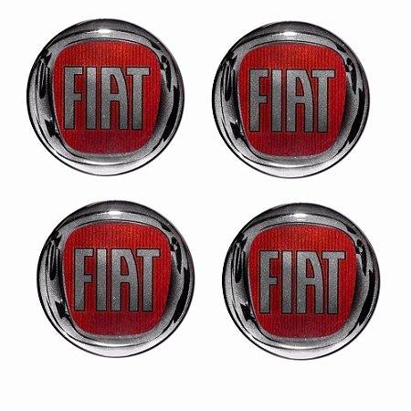 Kit 4 Emblemas Fiat Vermelho 48Mm Para Calotas