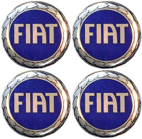 Kit 4 Emblemas Fiat Azul 48Mm Para Calotas