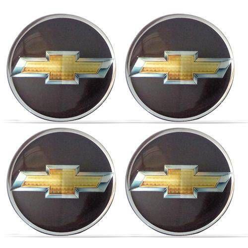 Jogo De Emblemas Adesivos Chevrolet Preto e Dourado Rodas