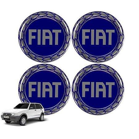 Jogo De Emblemas Adesivos Fiat Azul Rodas e Calotas 48mm