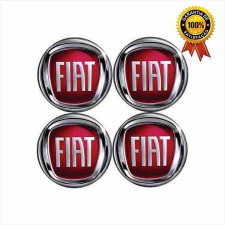 Jogo De Emblema Adesivos Fiat Vermelho Para Rodas e Calotas