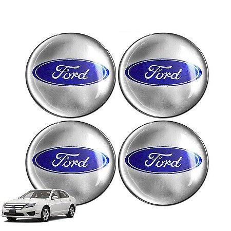 Jogo De Emblemas Adesivos Ford Espelhado Roda e Calota 48mm