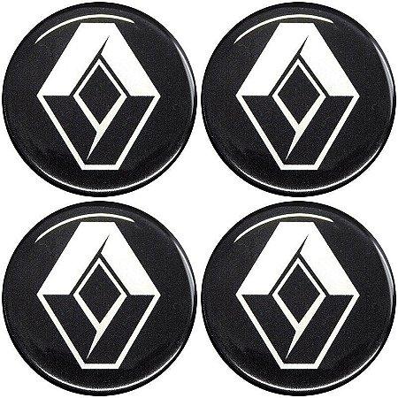 Jogo De Emblemas Adesivos Renault Para Rodas e Calotas 48mm
