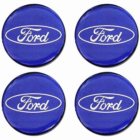Jogo De Emblemas Adesivos Ford Azul Rodas e Calotas 48mm
