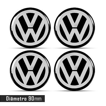 Jogo De Emblemas Adesivos Volkswagen Para Roda e Calota 90mm