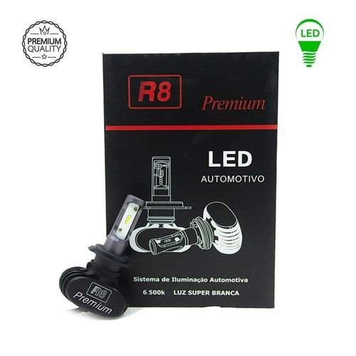 Par De Lâmpadas Led R8 Premium Headlight H3 6500K
