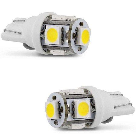 Par Lampada Led Torre T10 2821 5Leds SMD 5050 12V