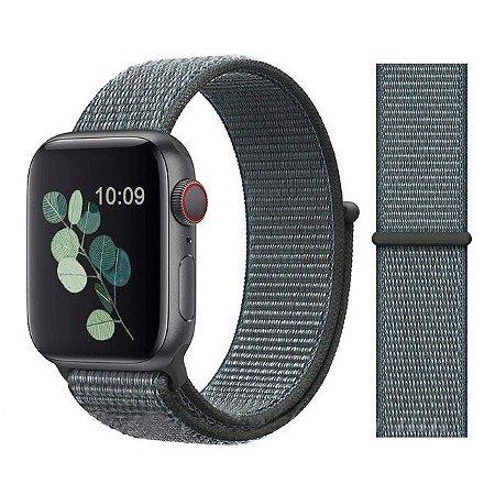 Pulseira Nylon Cinza Apple Watch Iwo 8 9 10 11 12 13