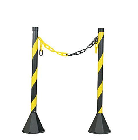 Kit 2 Pedestal Plastico + 4 Metros de Corrente Preta/Ama.