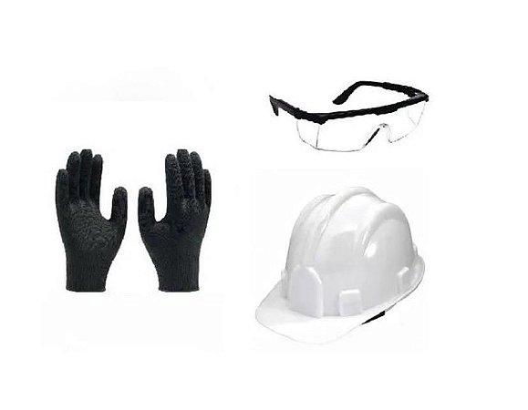 Kit de Epi Capacete + Oculos de Proteção + Luva Multitato G