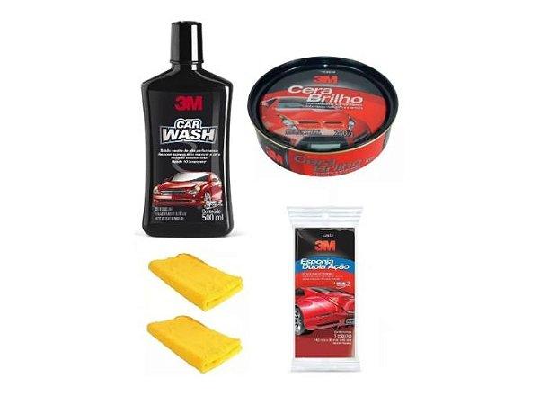 Kit Limpeza 3M Shampoo Automotivo + Cera Brilho + Esponja