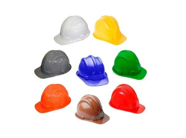 10 Capacetes de Segurança C/ Carneira Plastcor Obra Construcao