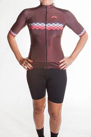 Camisa Ciclismo Feminina 2019 Aero Marrom Chumbo