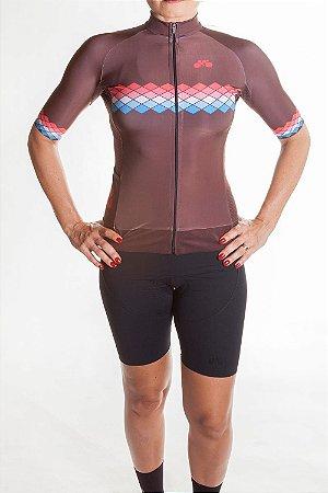 Camisa Ciclismo Feminina 2019 Aero Marrom Coral