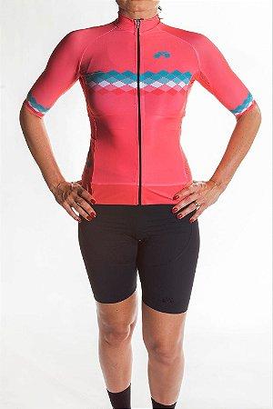 Camisa Ciclismo Feminina 2019 Aero Coral Verde Tiffany