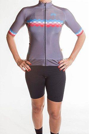 Camisa Ciclismo Feminina 2019 Aero Cinza Azul Claro