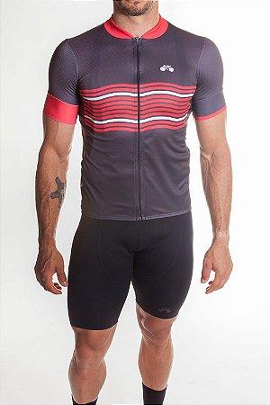Camisa Ciclismo Masculina Basic 2019 Grafite Vermelho