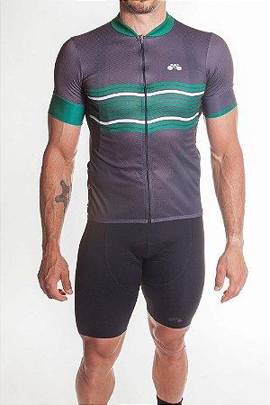 Camisa Ciclismo Masculina Basic 2019 Grafite Verde