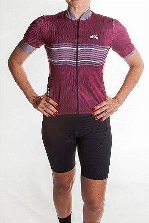 Camisa Ciclismo Feminina 2019 Basic Vinho Grafite