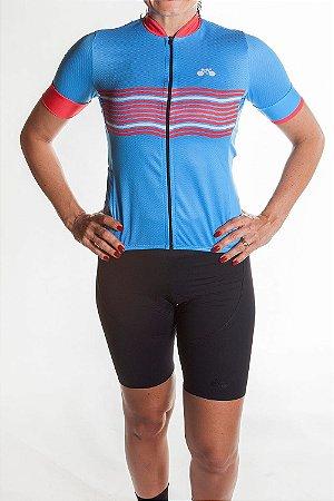Camisa Ciclismo Feminina 2019  Basic Azul Claro Vermelho
