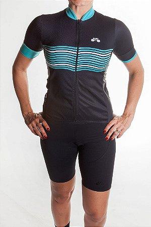 Camisa Ciclismo Feminina 2019 Basic Preto Verde Tiffany