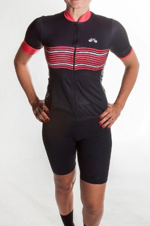 Camisa Ciclismo Feminina 2019 Preto Vermelho