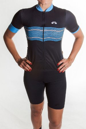 Camisa Ciclismo Feminina 2019 Basic Preto Azul