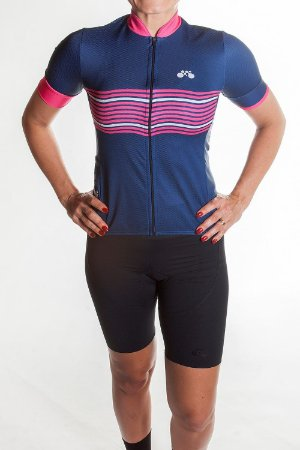 Camisa Ciclismo Feminina 2019 Basic Azul Marinho Rosa